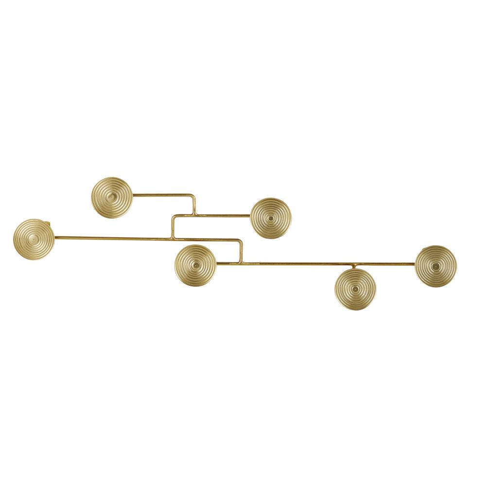 Patère 6 crochets en métal doré