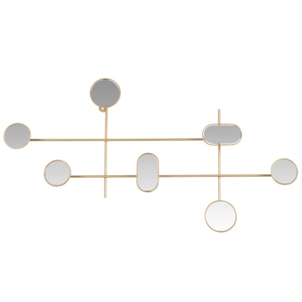 Patère 7 crochets avec miroirs en métal doré