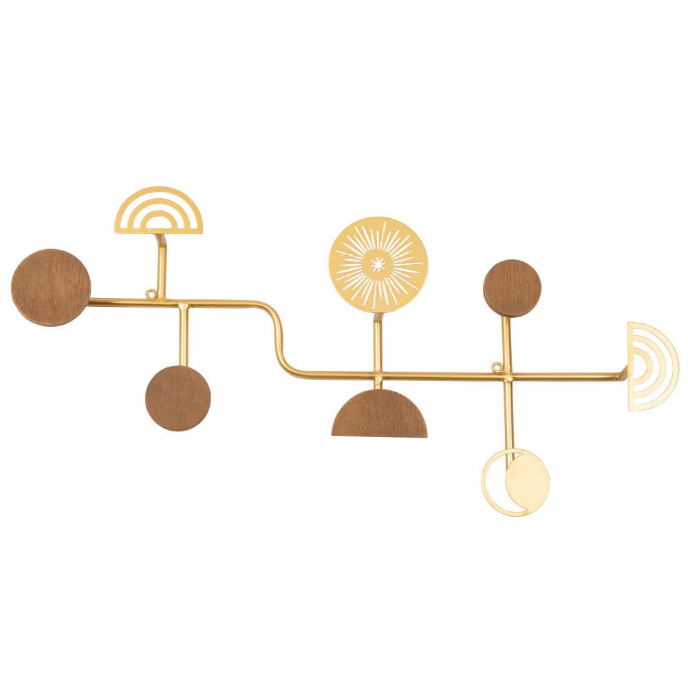 Patère 8 crochets sculptés marron et métal doré