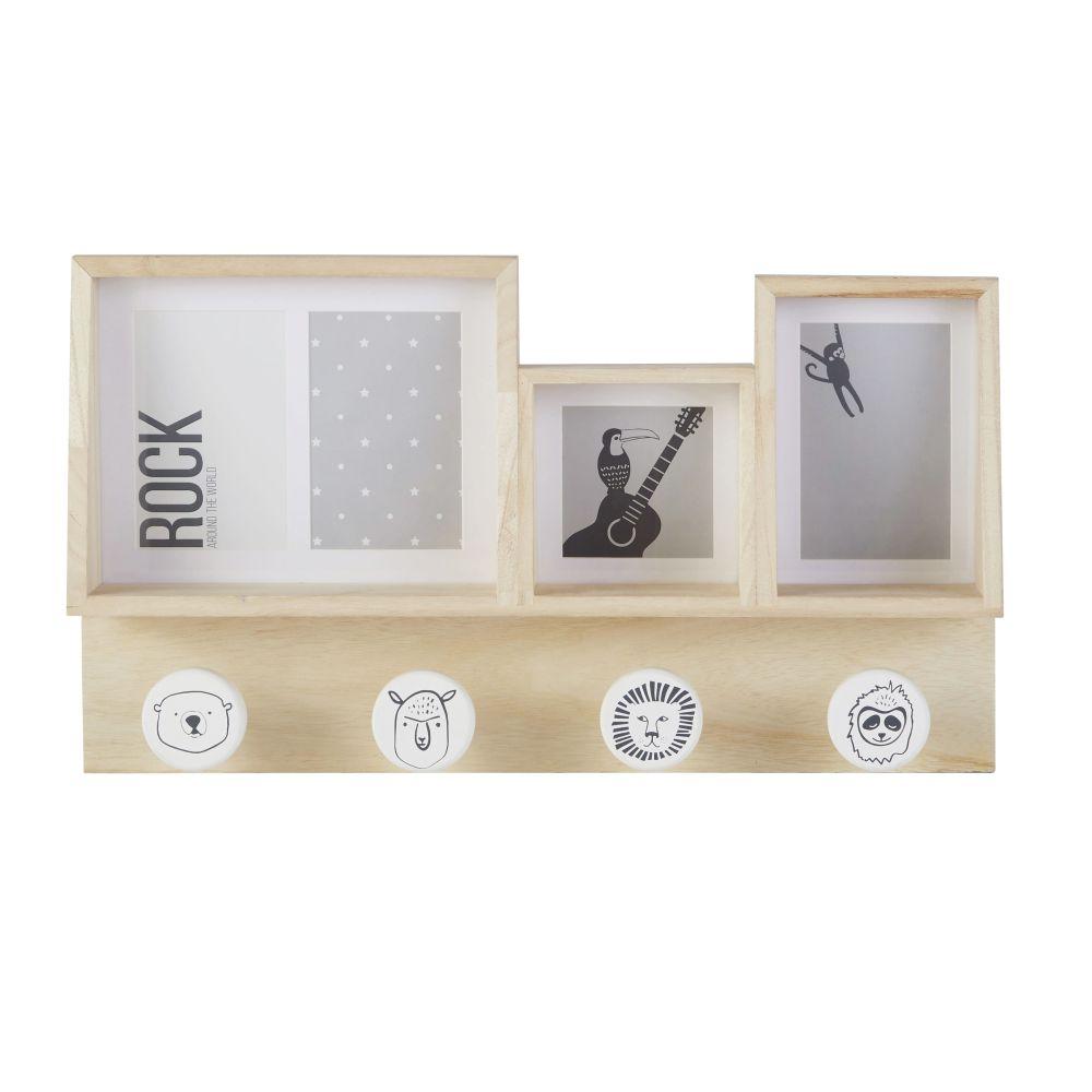 Patère enfant 4 crochets en pin beige, gris et blanc avec cadres photos