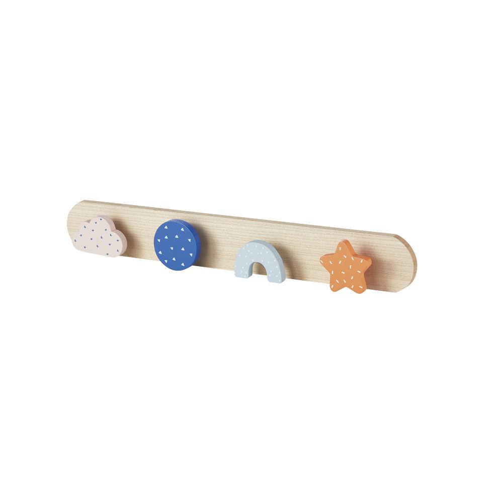 Patère enfant 4 crochets orange, rose, bleue et blanche