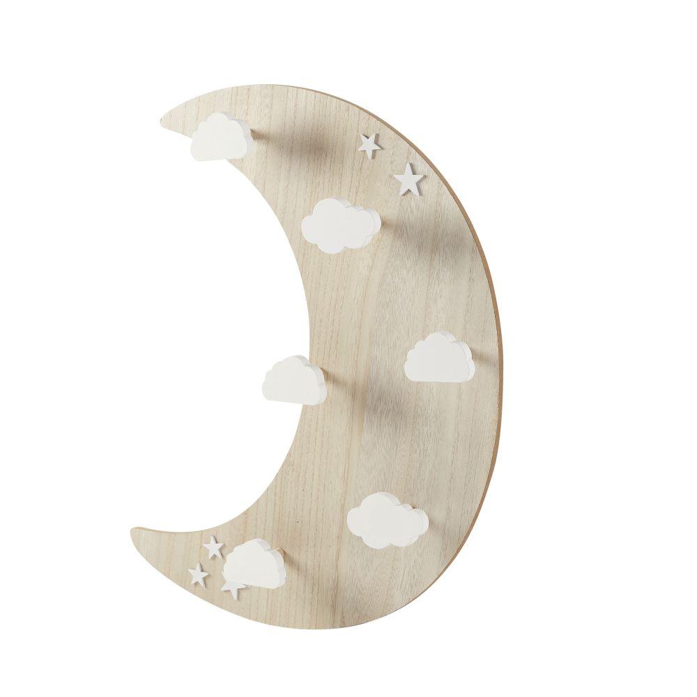 Patère lune 6 crochets nuages bicolore
