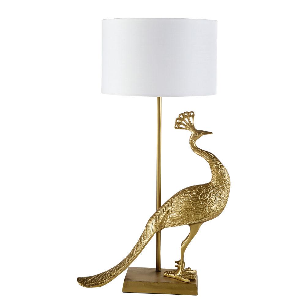 Pauwenlamp Van Gerecycleerd Verguld Aluminium Met Witte Katoenen Lampenkap