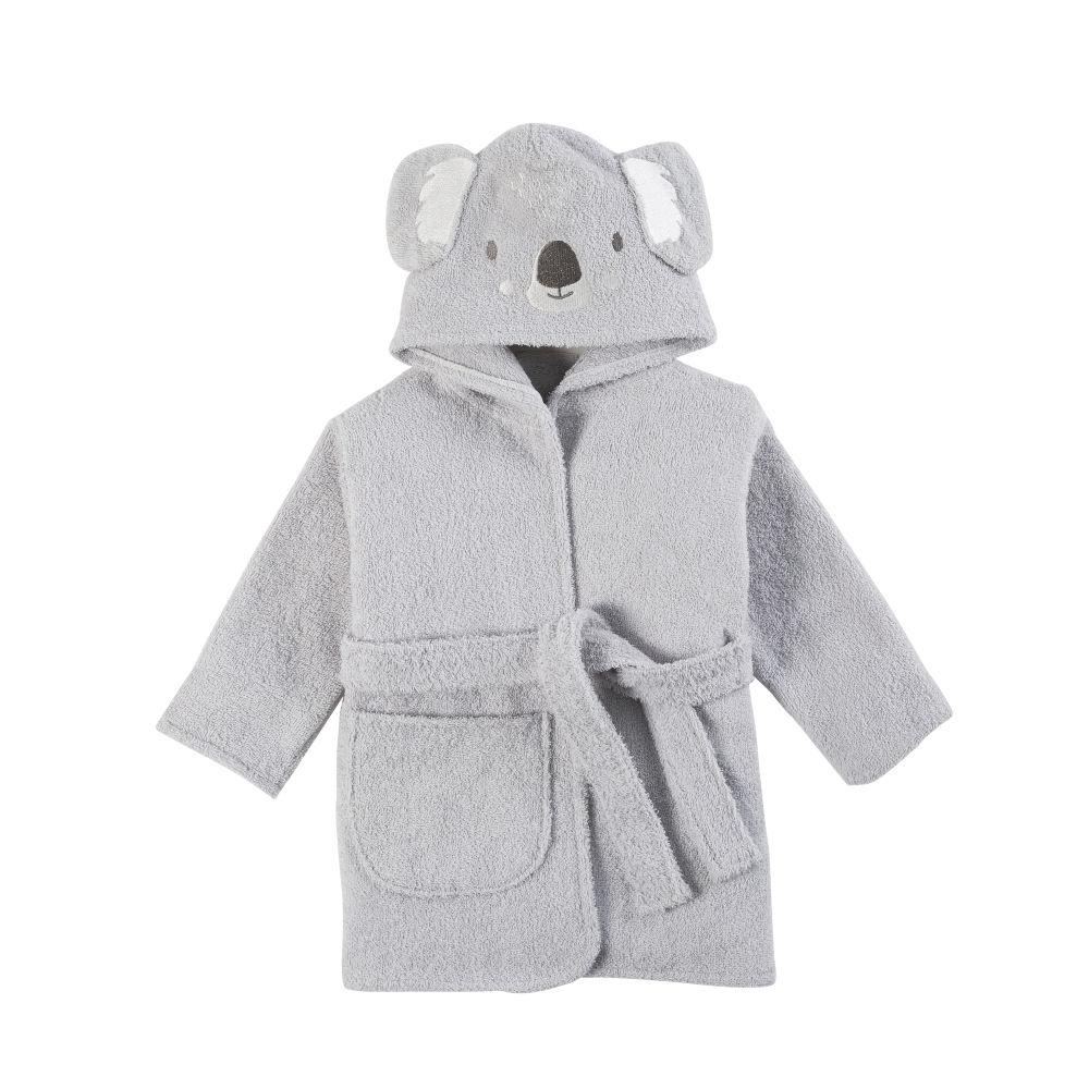 Peignoir bébé en coton gris brodé