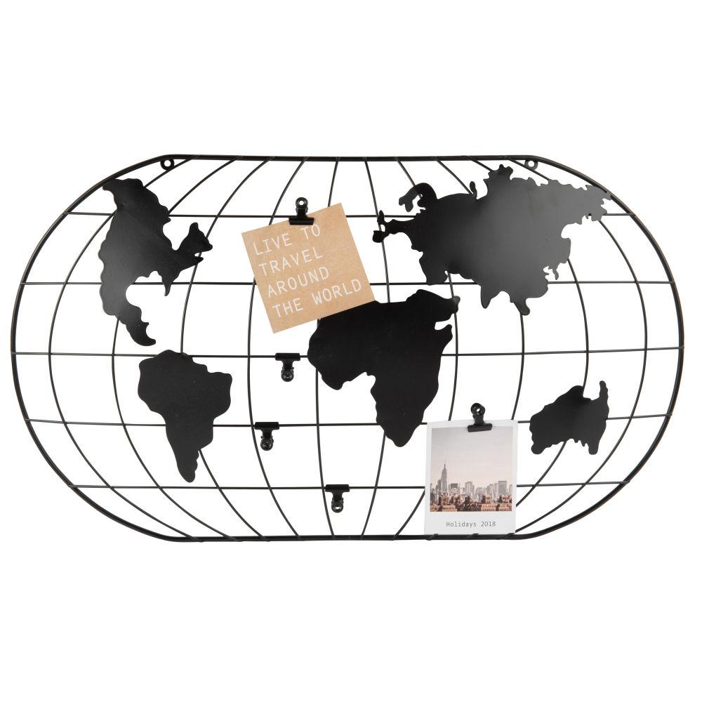Pêle-mêle carte du monde en métal ajouré noir