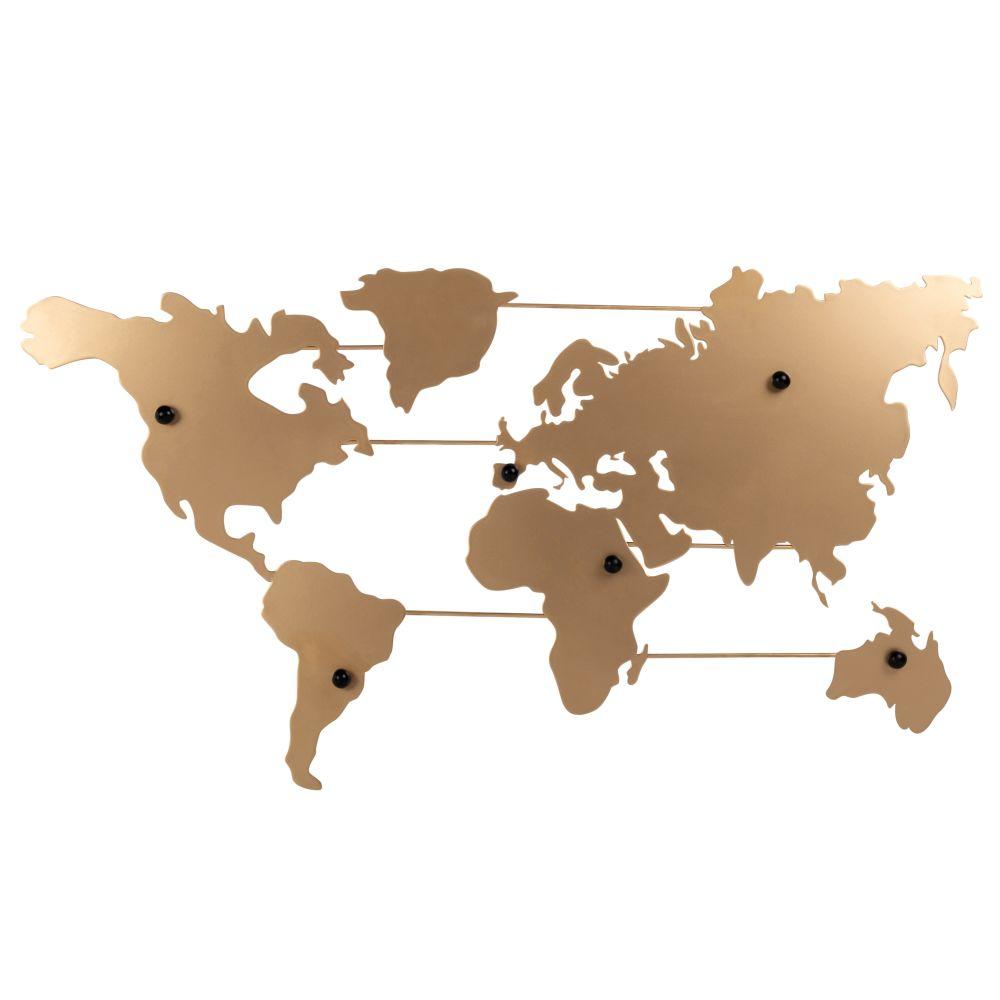 Pêle-mêle carte du monde en métal doré 82x46