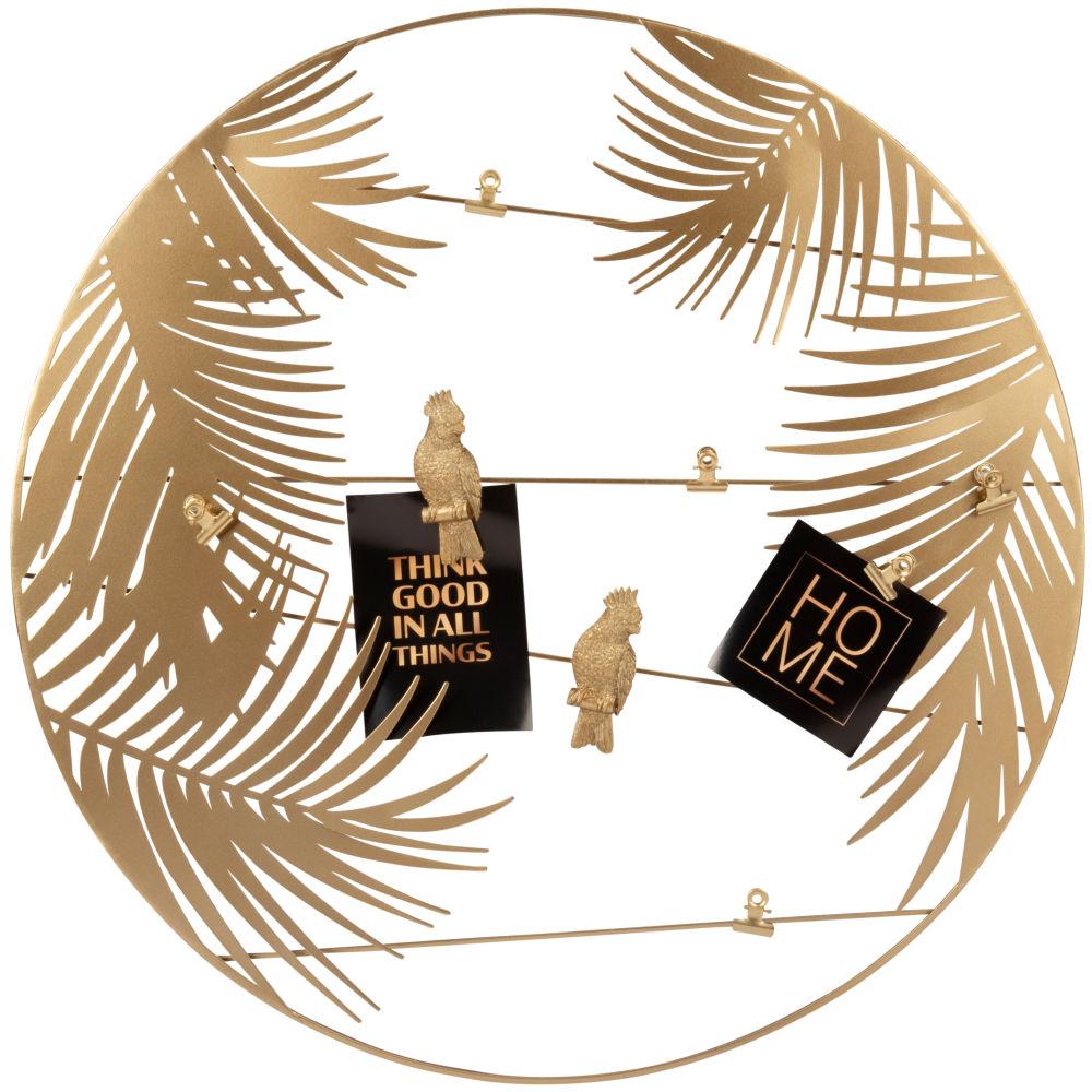 Pêle-mêle feuillage et perroquets en métal doré D55