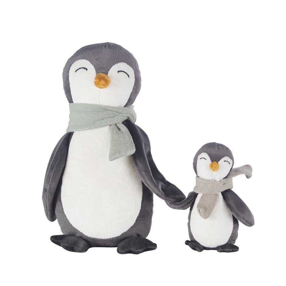 Peluche famille pingouins (x2) gris anthracite, blanche, orange et bleue