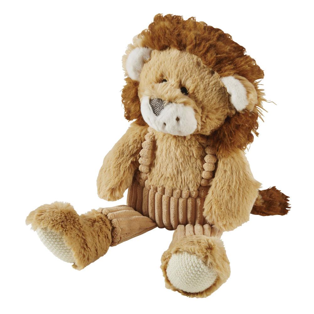 Peluche lion marron et beige