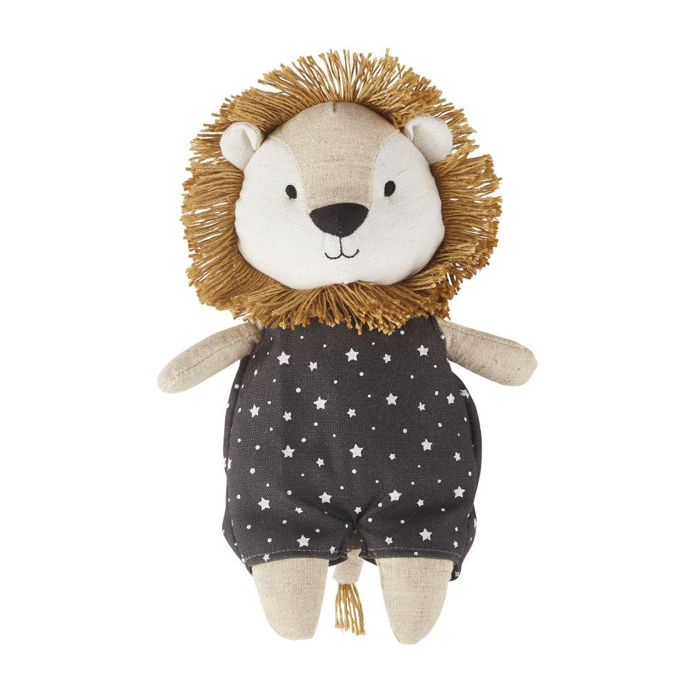 Peluche lion marron, noire et blanche