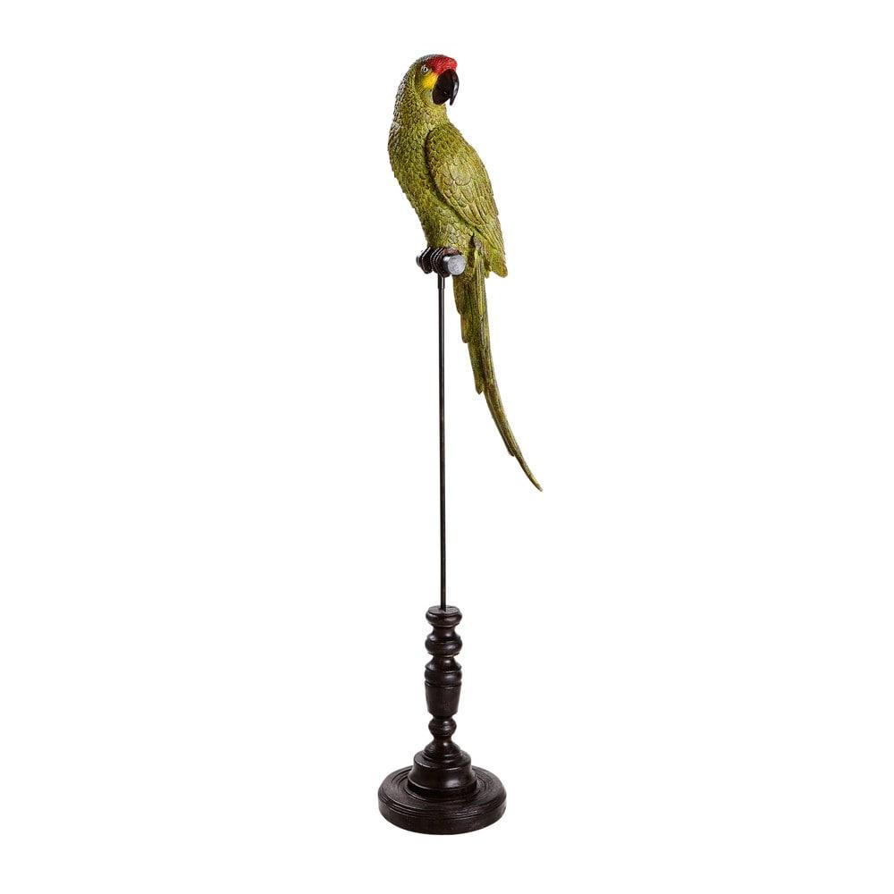 Perroquet vert avec pied en métal noir