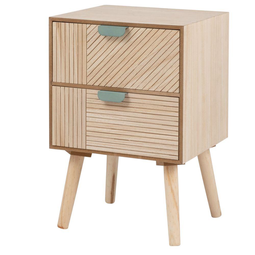 Petit meuble 2 tiroirs marron et bleu et pieds en pin