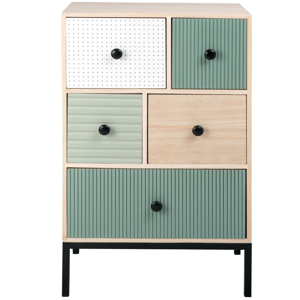 Petit meuble 5 tiroirs bleu, blanc et marron