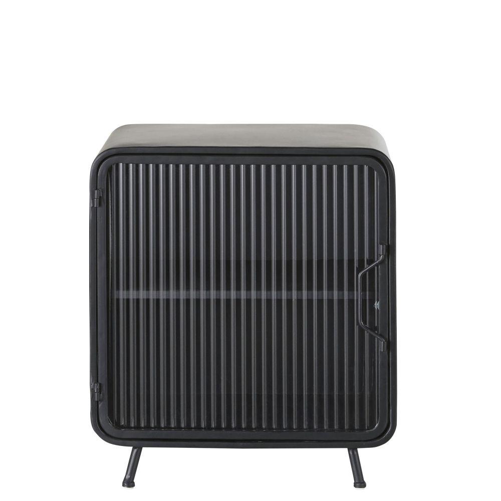 Petit meuble de rangement 1 porte en métal noir