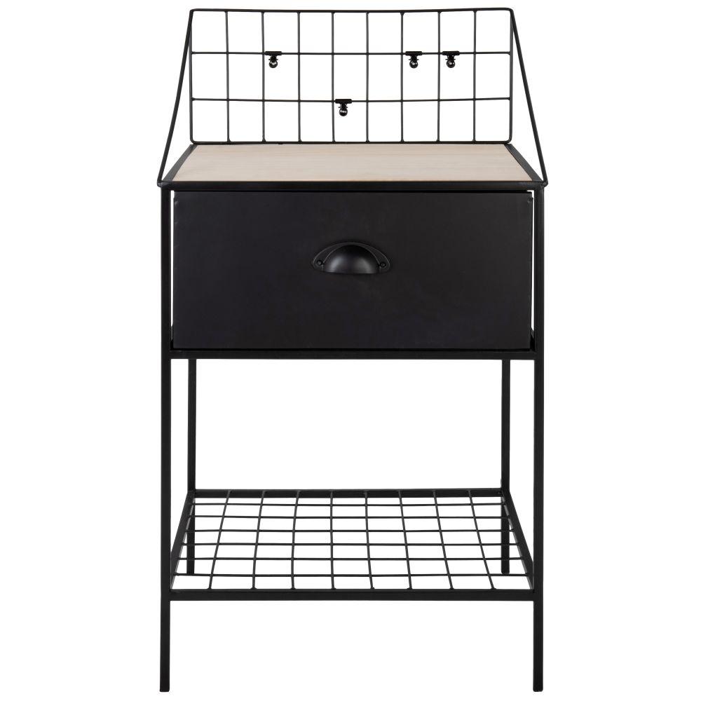 Petit meuble de rangement 1 tiroir en platane et métal noir