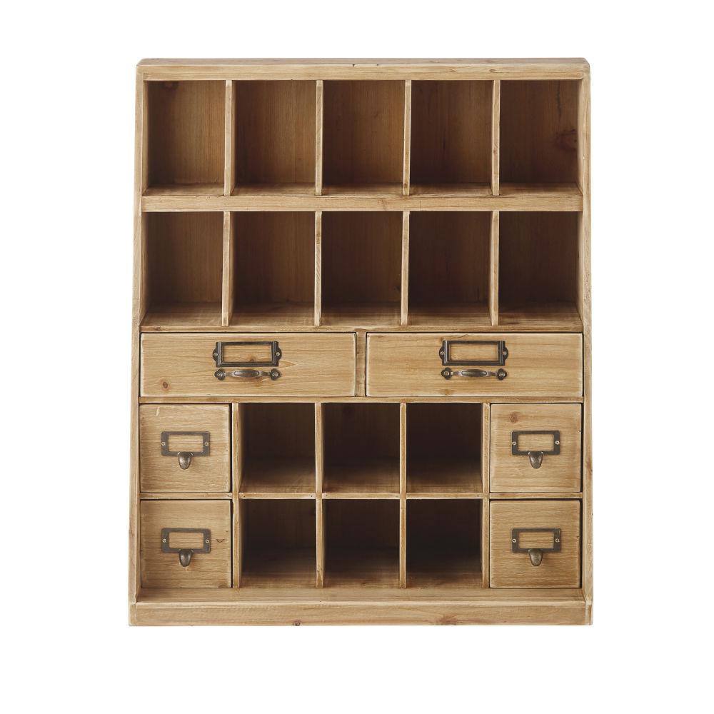 Petit meuble de rangement 2 tiroirs avec casiers