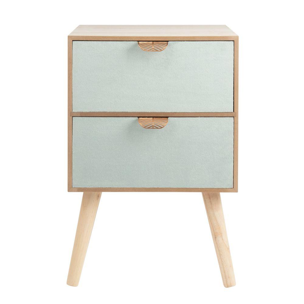 Petit meuble de rangement 2 tiroirs en velours et métal