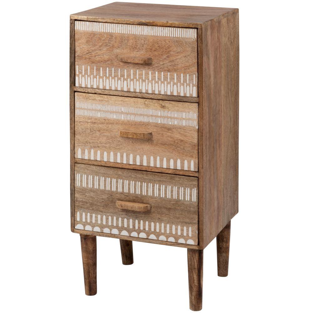 Petit meuble de rangement 3 tiroirs en manguier à motifs blancs