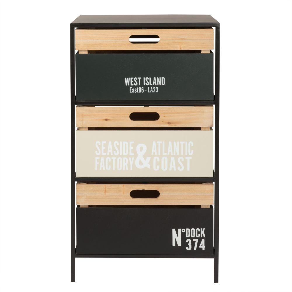 Petit meuble de rangement 3 tiroirs en métal imprimé