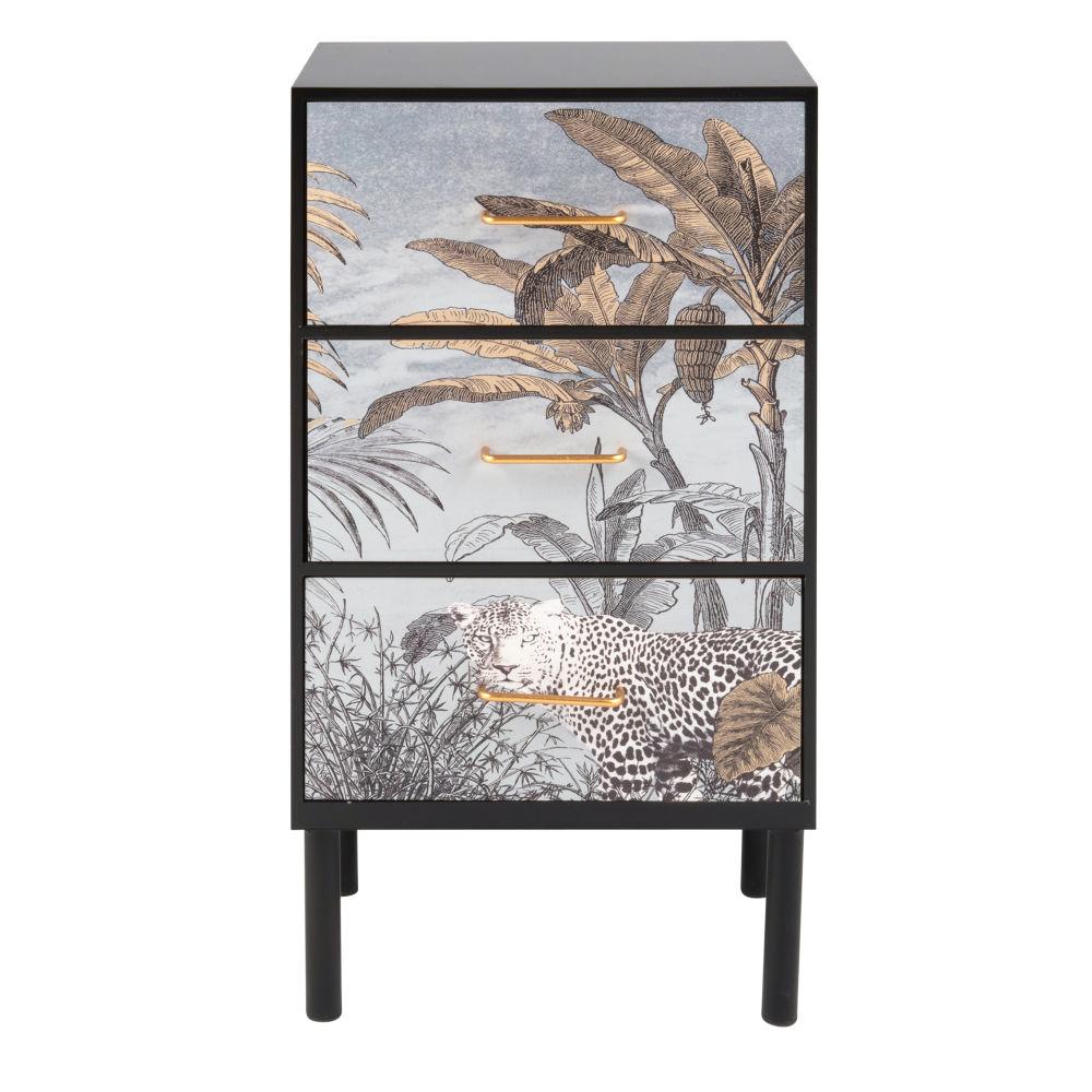 Petit meuble de rangement 3 tiroirs imprimé jungle