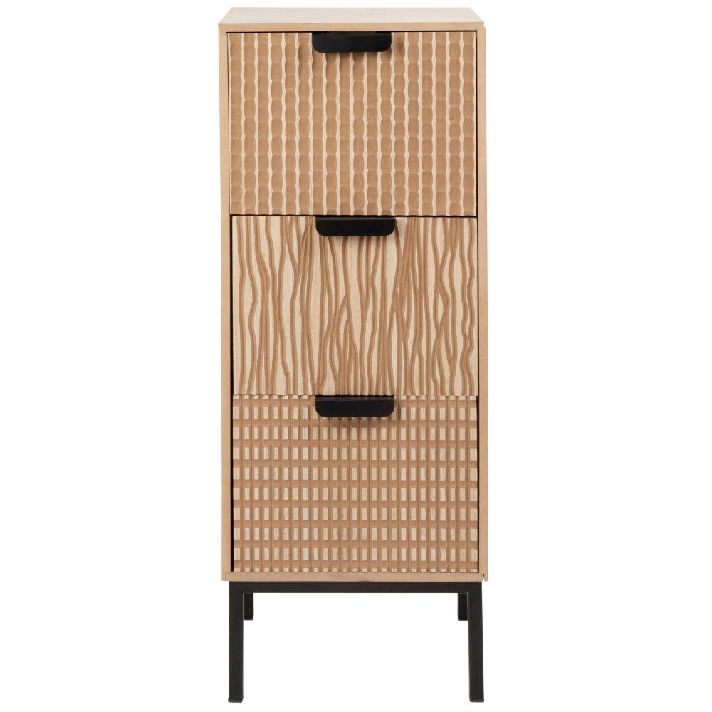 Petit meuble de rangement 3 tiroirs noir mat et marron