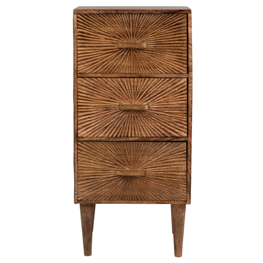 Petit meuble de rangement 3 tiroirs sculptés
