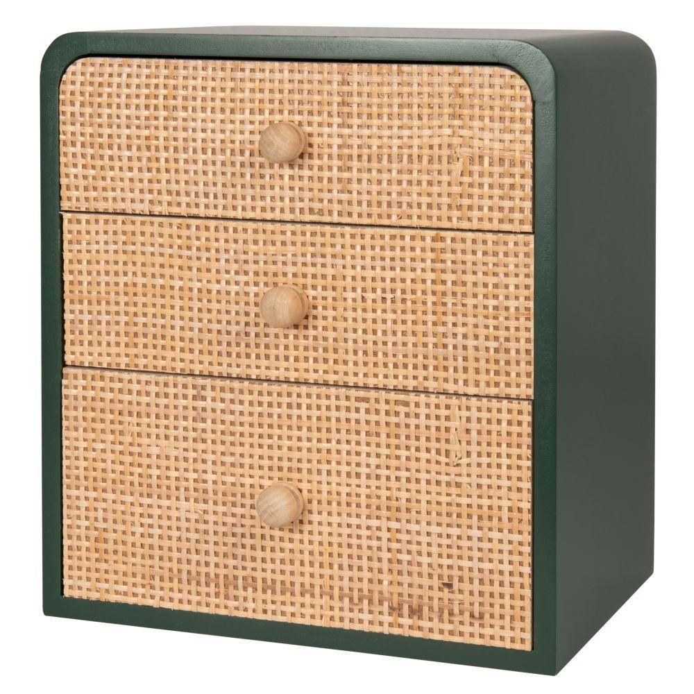 Petit meuble de rangement 3 tiroirs vert et rotin
