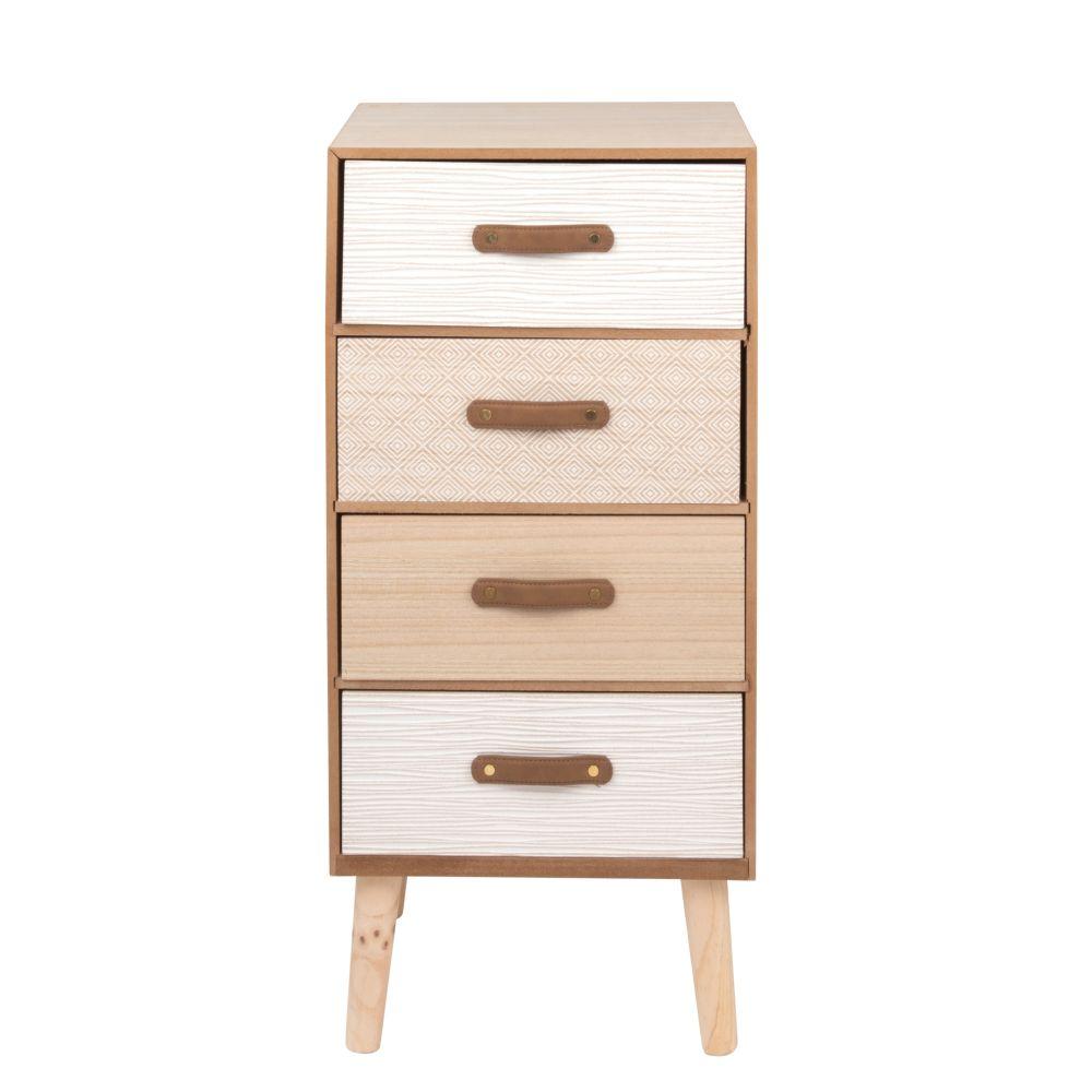 Petit meuble de rangement 4 tiroirs à motifs