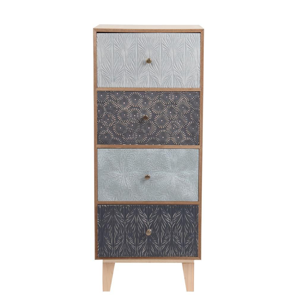 Petit meuble de rangement 4 tiroirs à motifs gravés