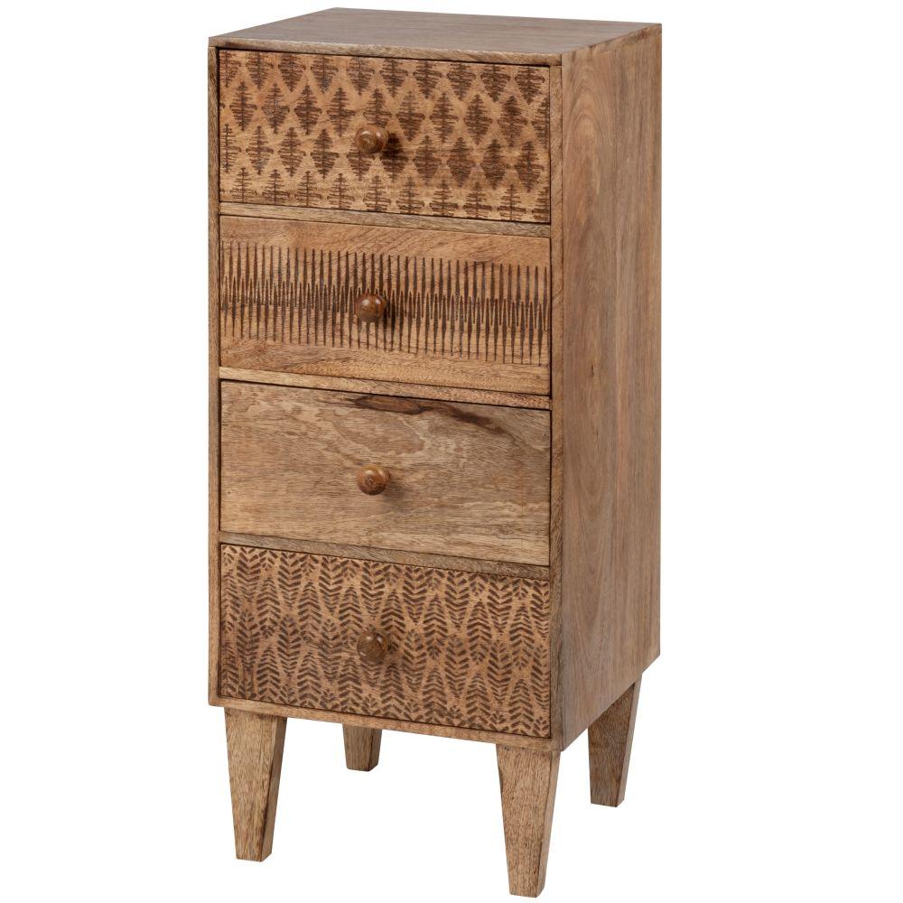 Petit meuble de rangement 4 tiroirs en manguier sculpté