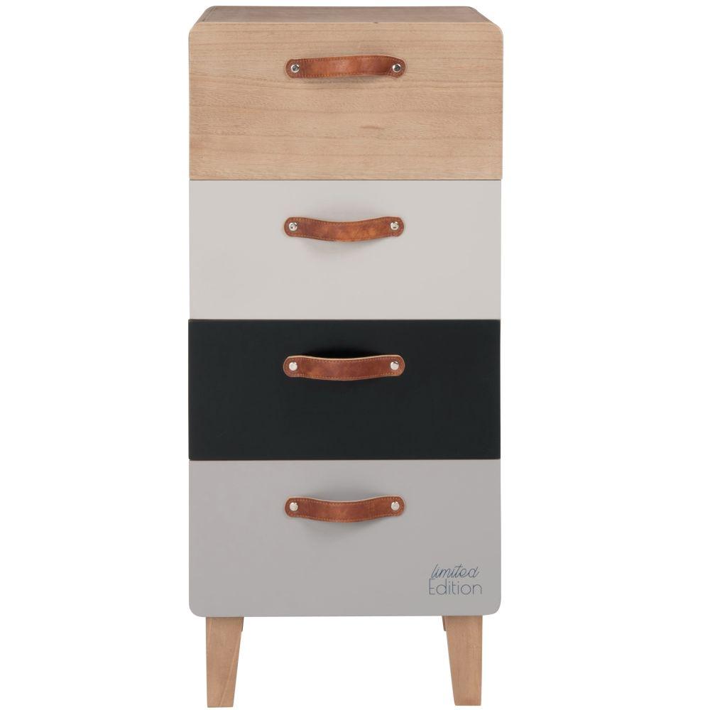 Petit meuble de rangement 4 tiroirs gris, blanc, noir et beige