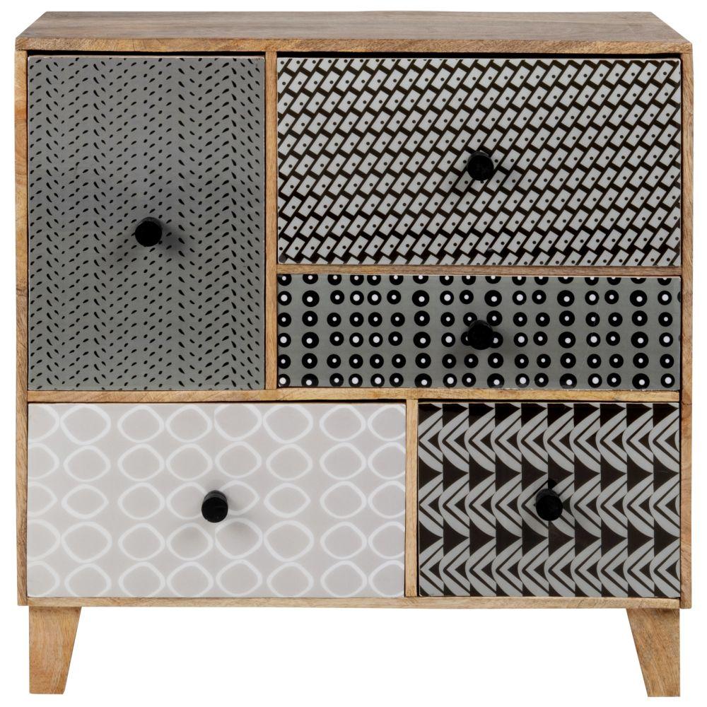Petit meuble de rangement 5 tiroirs en manguier massif à motifs fantaisies gris, noirs et blancs