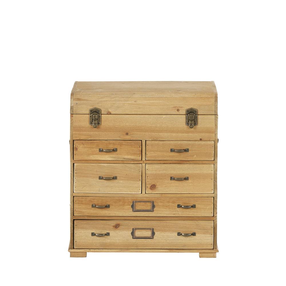 Petit meuble de rangement coffre 6 tiroirs en sapin