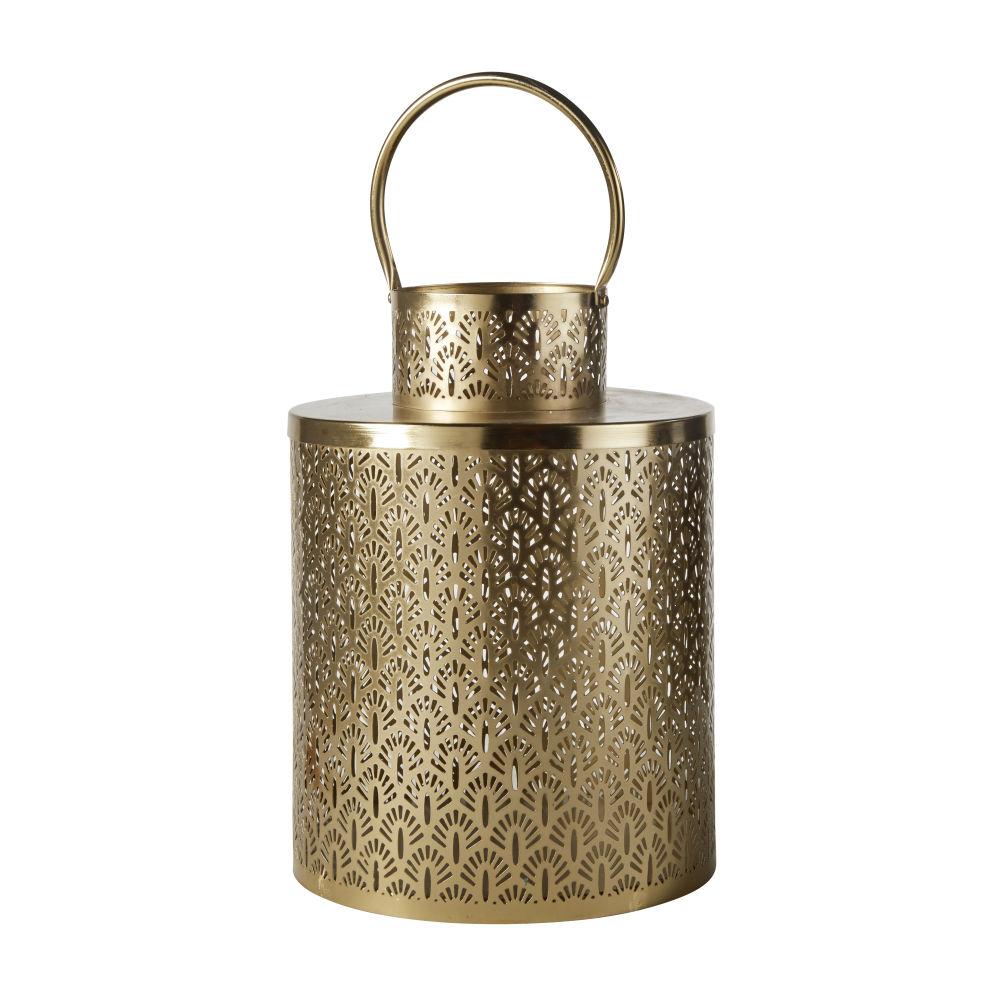 Photophore avec anse en métal doré mat H36