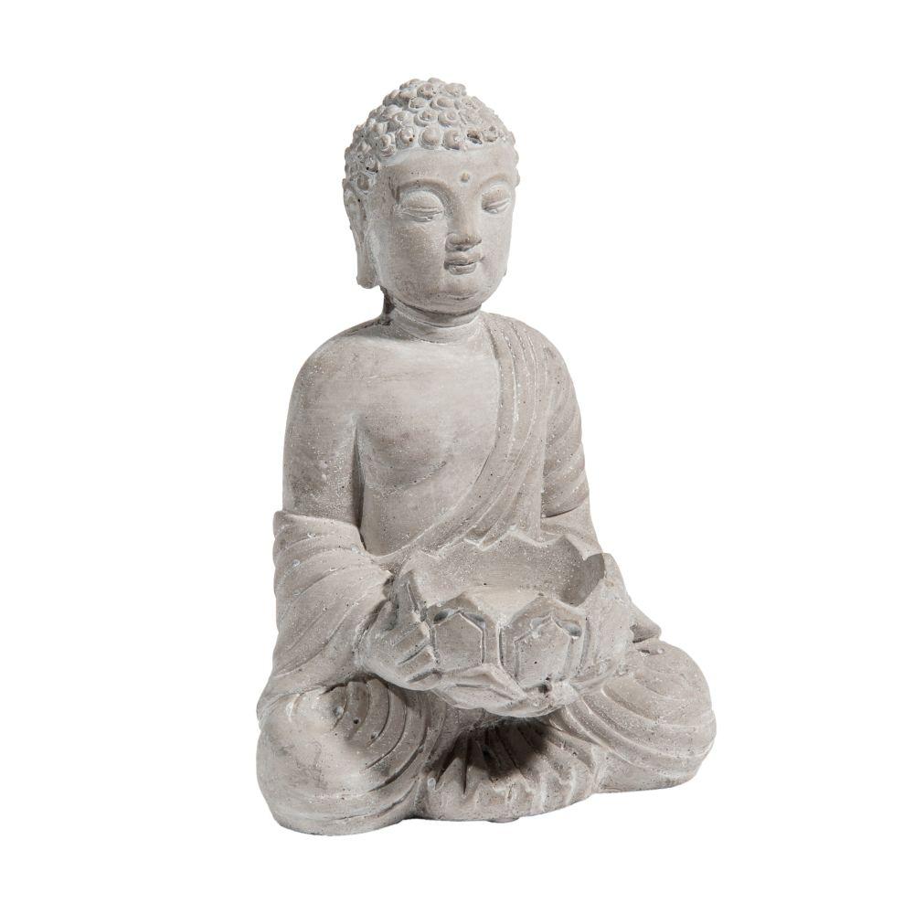 Photophore bouddha en ciment H 19 cm
