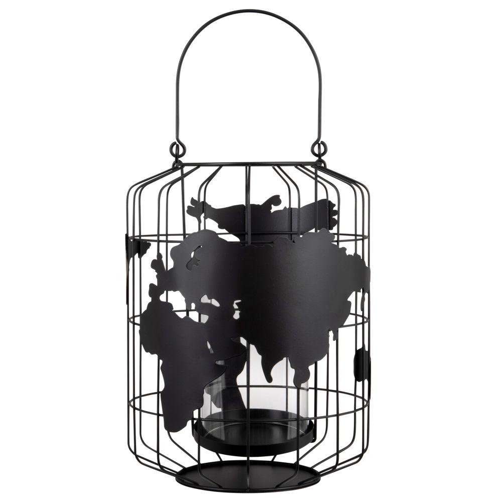 Photophore carte du monde filaire en métal noir