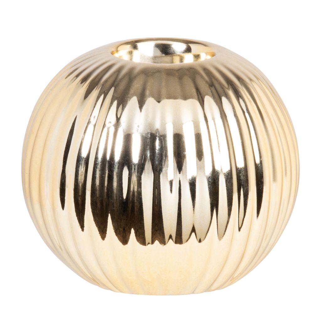 Photophore en porcelaine striée et dorée