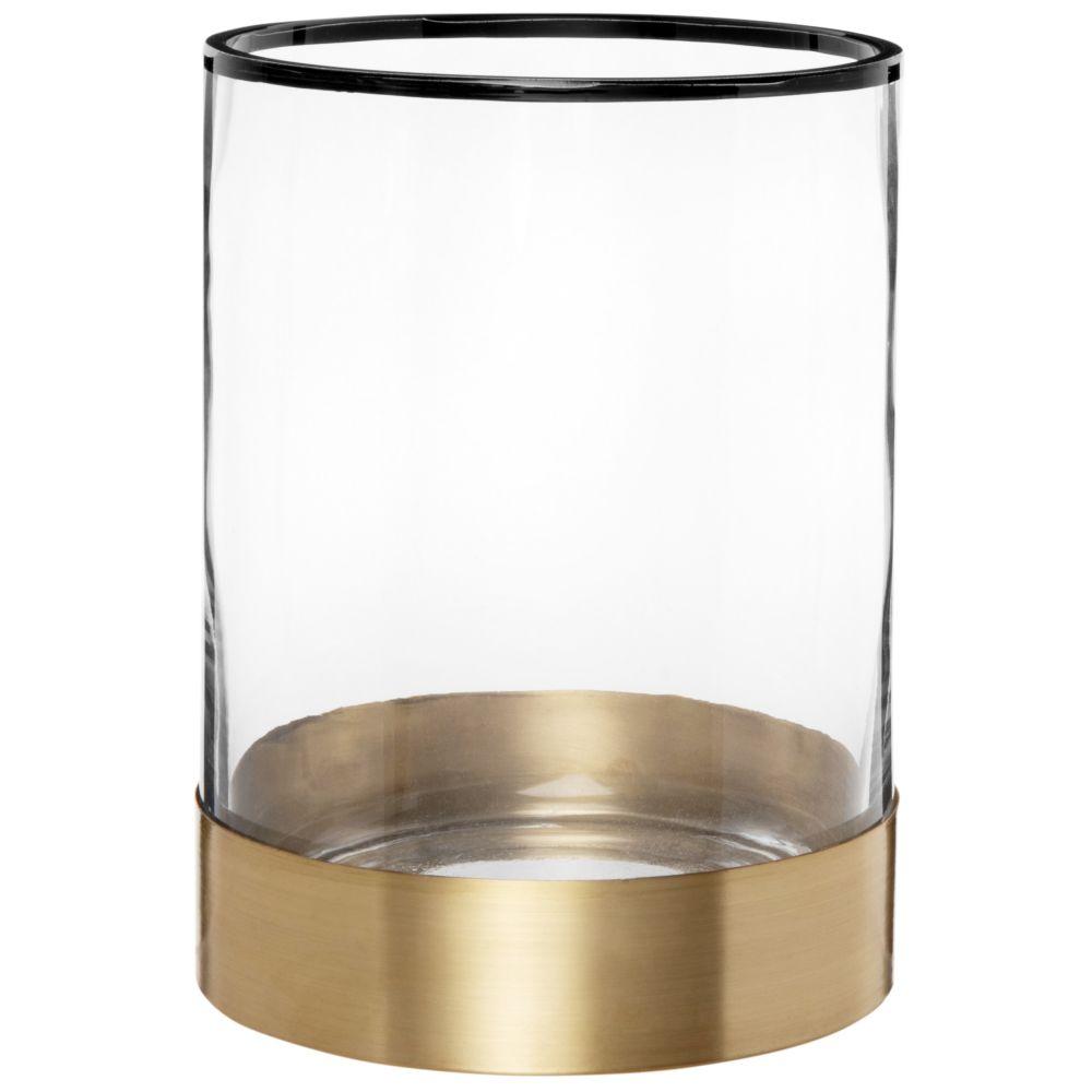 Photophore en verre avec liseré noir et métal doré