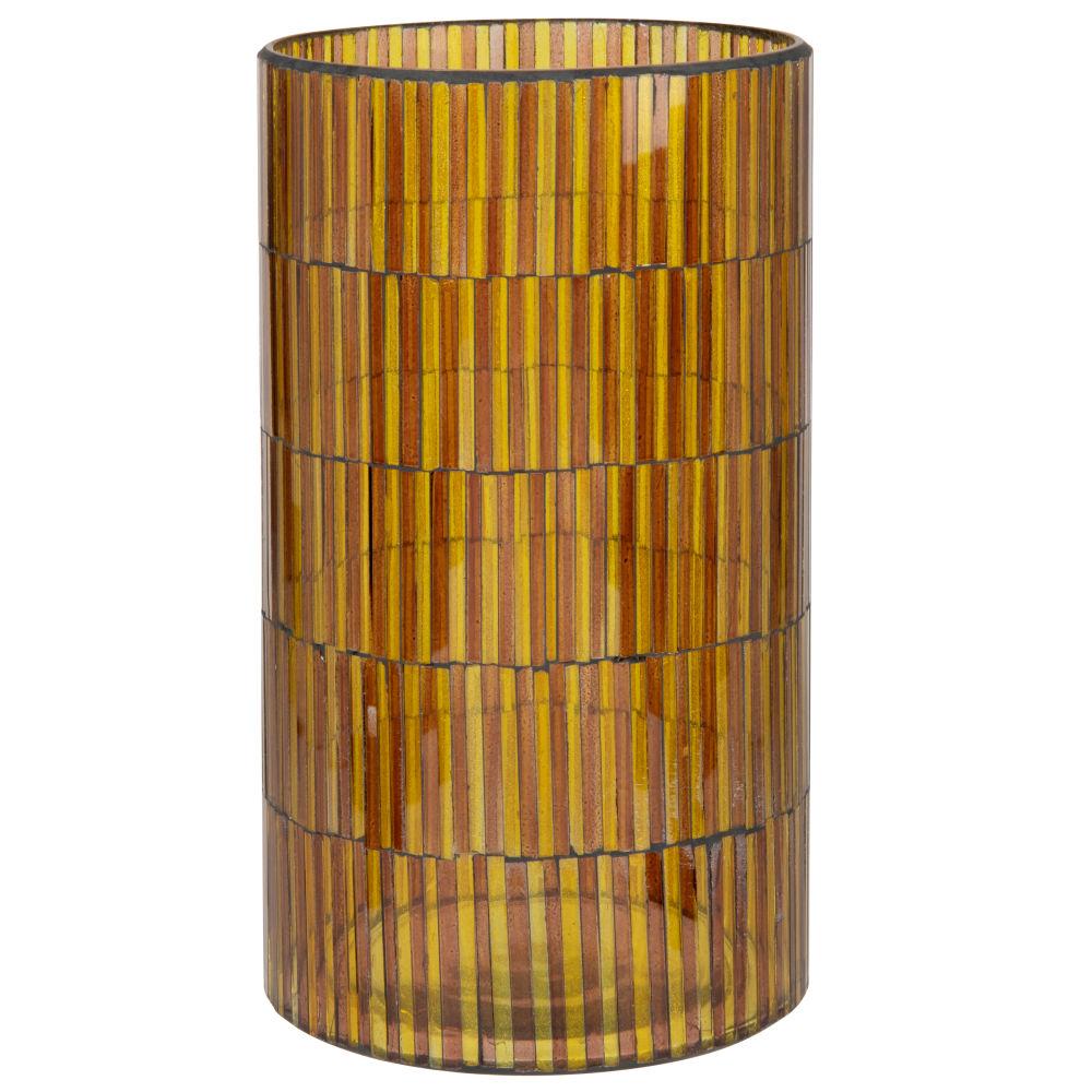Photophore en verre strié fumé marron