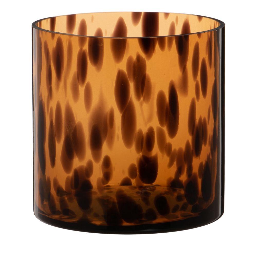 Photophore en verre tacheté teinté marron