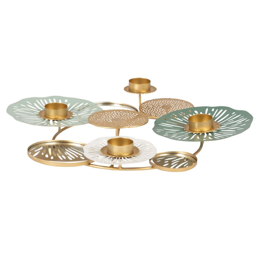 Photophore fleurs miroirs en métal doré, bleu et blanc