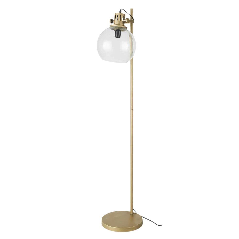 Piantana in metallo dorato e globo in vetro, H 144 cm