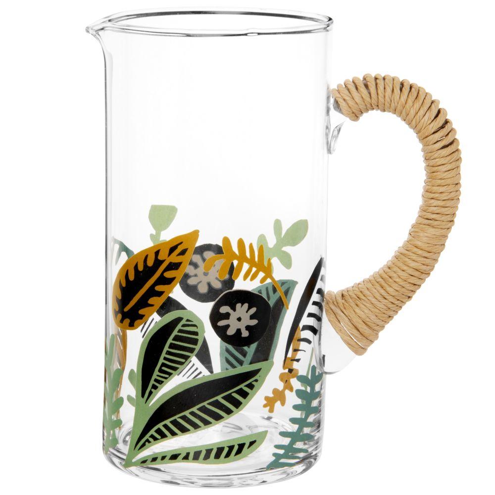 Pichet en verre motif végétal vert olive et noir et anse en raphia 1.4L
