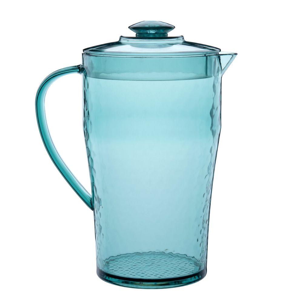 Pichet teinté bleu martelé