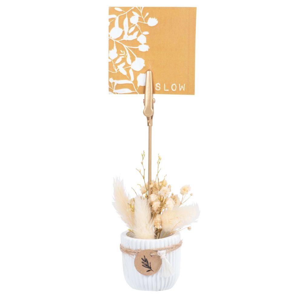 Pince-photo en résine, métal et fleurs séchées
