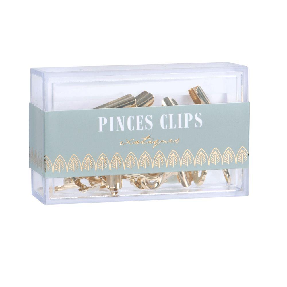 Pinces clips en métal doré (x10)