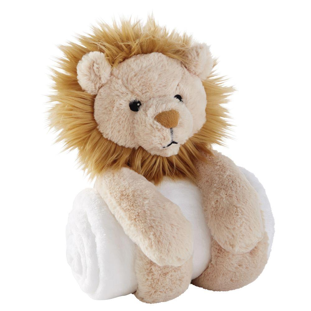 Plaid blanc et lion beige et écru 75x100
