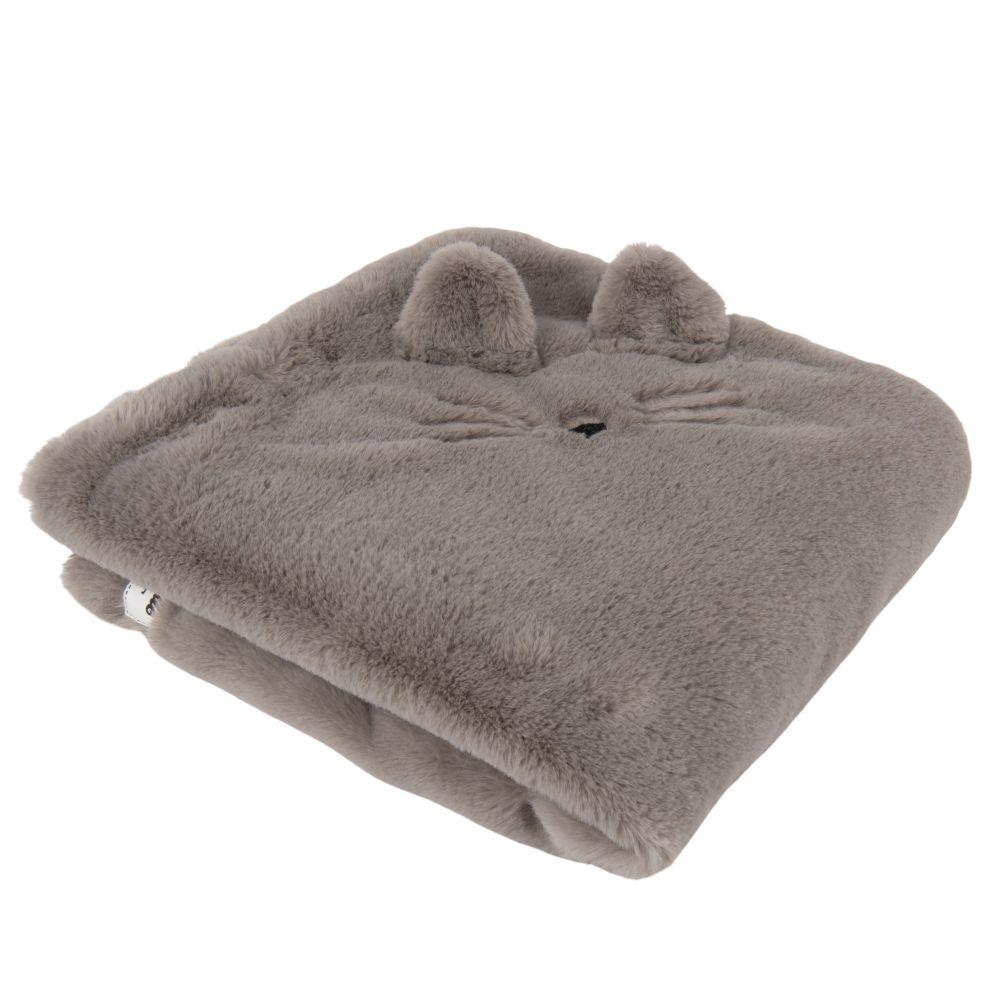 Plaid chat gris à pompons 60x60