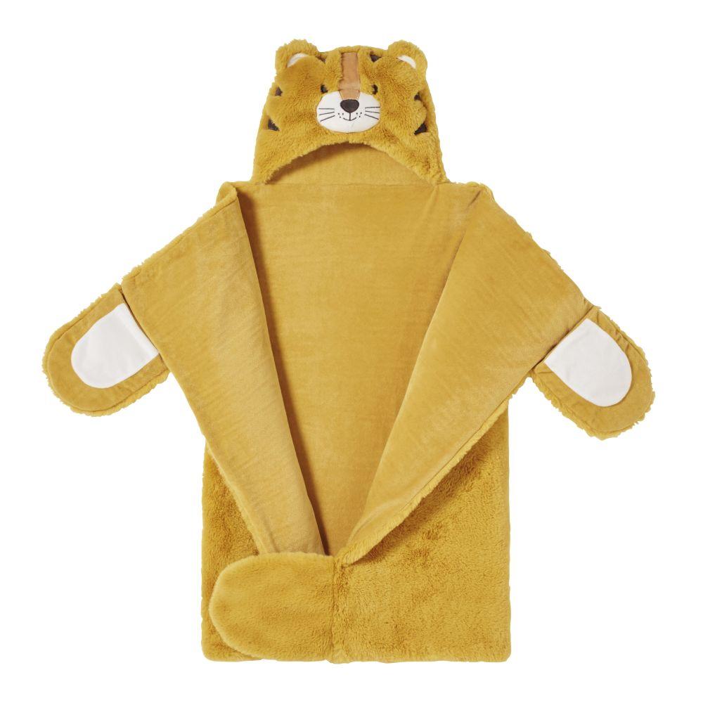Plaid déguisement tigre jaune moutarde et écru 70x10x105