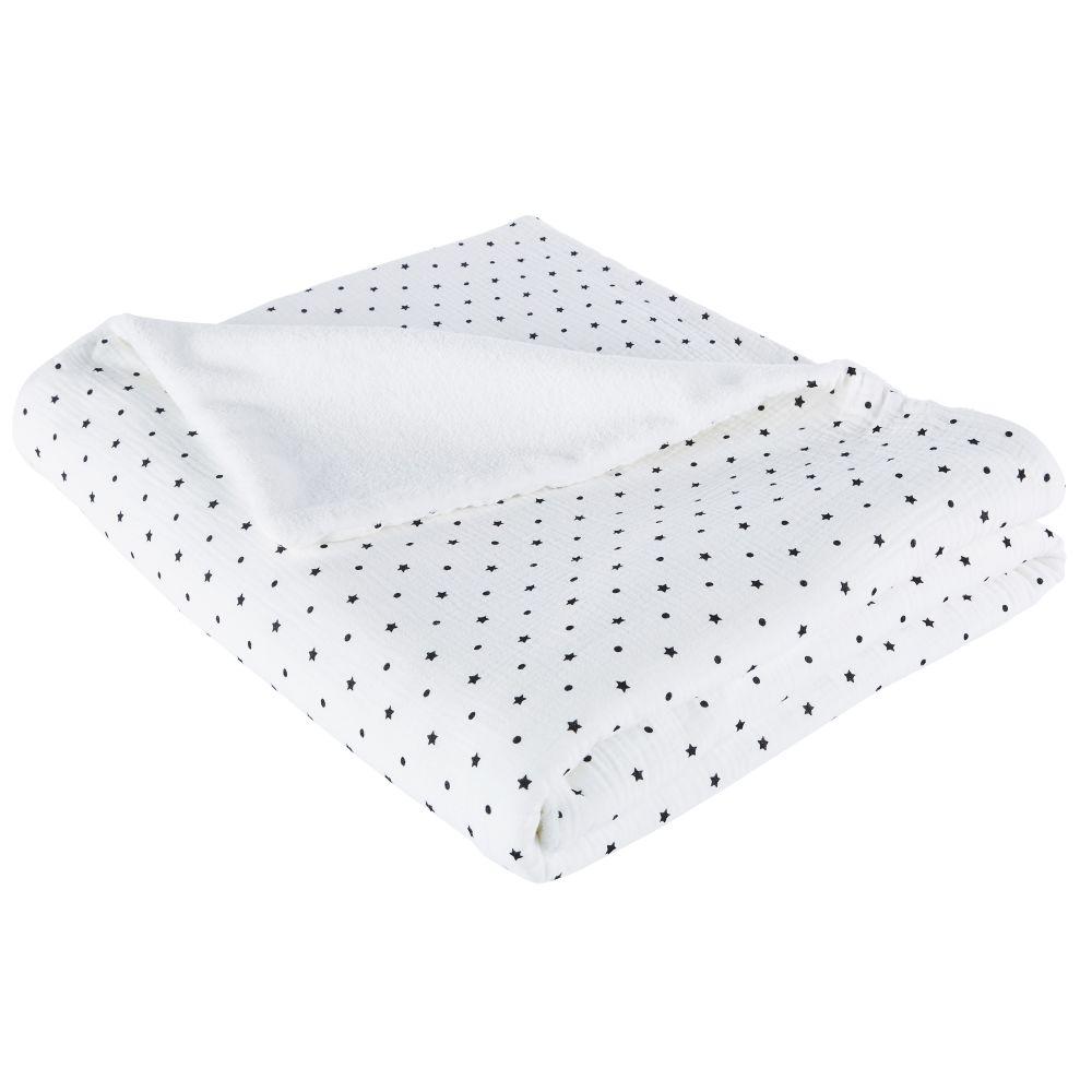 Plaid en coton bio blanc motifs pois et étoiles noirs 130x170